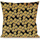 Buckle Down Throw Pillow-Jack-o'-Lantern Collage Black, Halloween