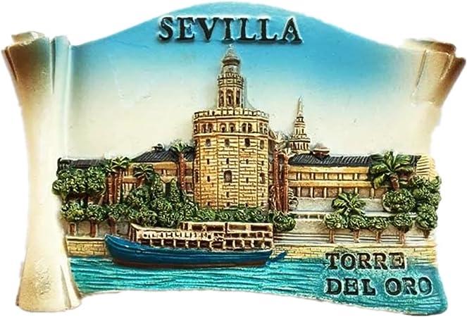 Imán de resina para nevera, diseño de Torre Dorada, Sevilla España 3D, ideal como recuerdo, regalo de turismo, hecho a mano, creativo para el hogar y la cocina, adhesivo magnético: Amazon.es: Hogar