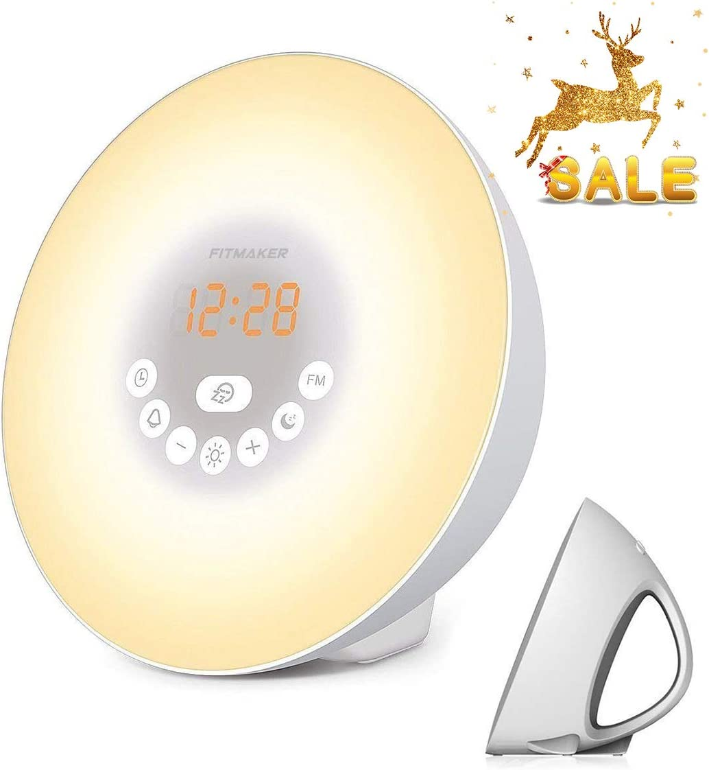Sunrise Alarm Clock, Wake Up Light with 6 Nature Sounds, FM Radio, Color Light, Bedside Sunrise Simulator (White)