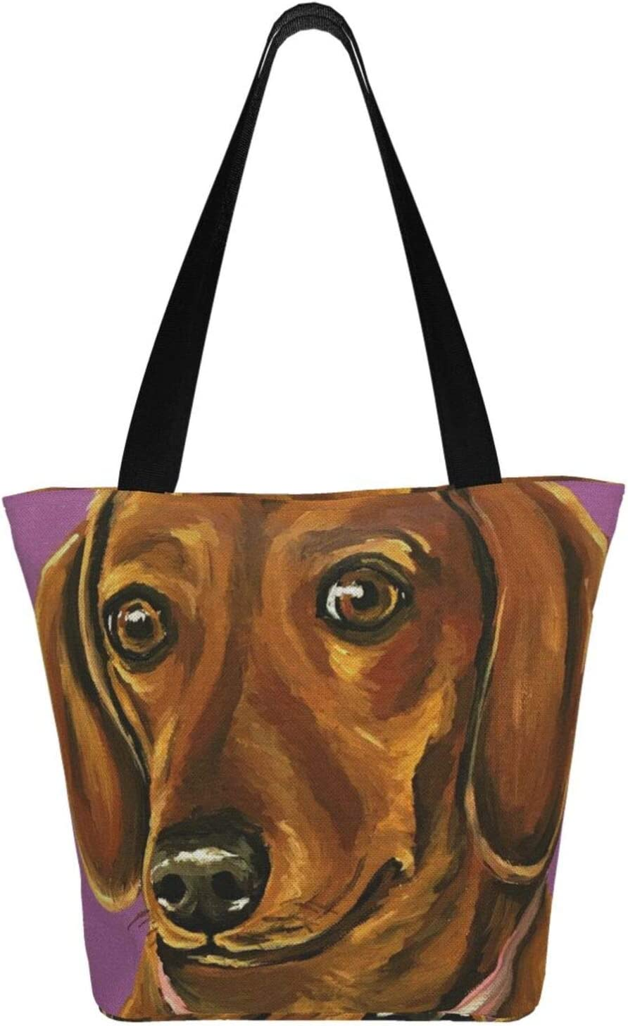 AKLID Watercolor Daschund Extra Large Water Resistant Canvas Tote Bag for Gym Beach Travel Reusable Grocery Shopping Portable Storage Handbags