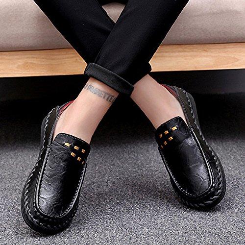 Casual Business Uomo Guida Nero Estate Scarpe Da Office Pelle HGDR Scarpe Fannulloni Scarpe Lavoro Di Black In xqIfw0Zz