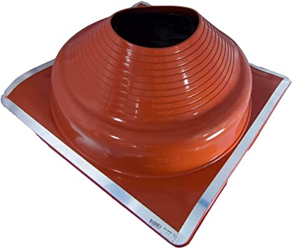 EAGLE 1 EPDM Flexible Roofing Pipe Flashing Boots High Temp - Zipper, 8 High Temp Red//Gray On Site Adjustable Roof Pipe Jack Boot with Round Base -