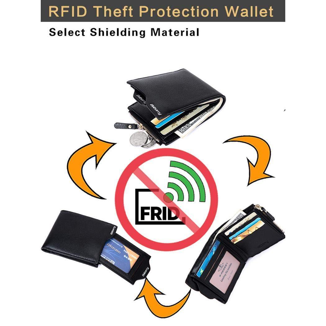 Sliwei Portafoglio per uomo versione orizzontale Portafoglio in pelle RFID Blocking Bifold Stylish