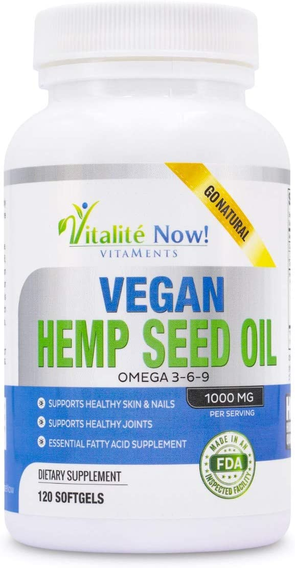 Premium Vegan Hemp Seed Oil Softgels - Joint Pain Relief, Stress & Anxiety Relief, Skin & Nail Health, Omega Fatty Acids 3 6 9 - Non-GMO - Easy to Swallow Softgels