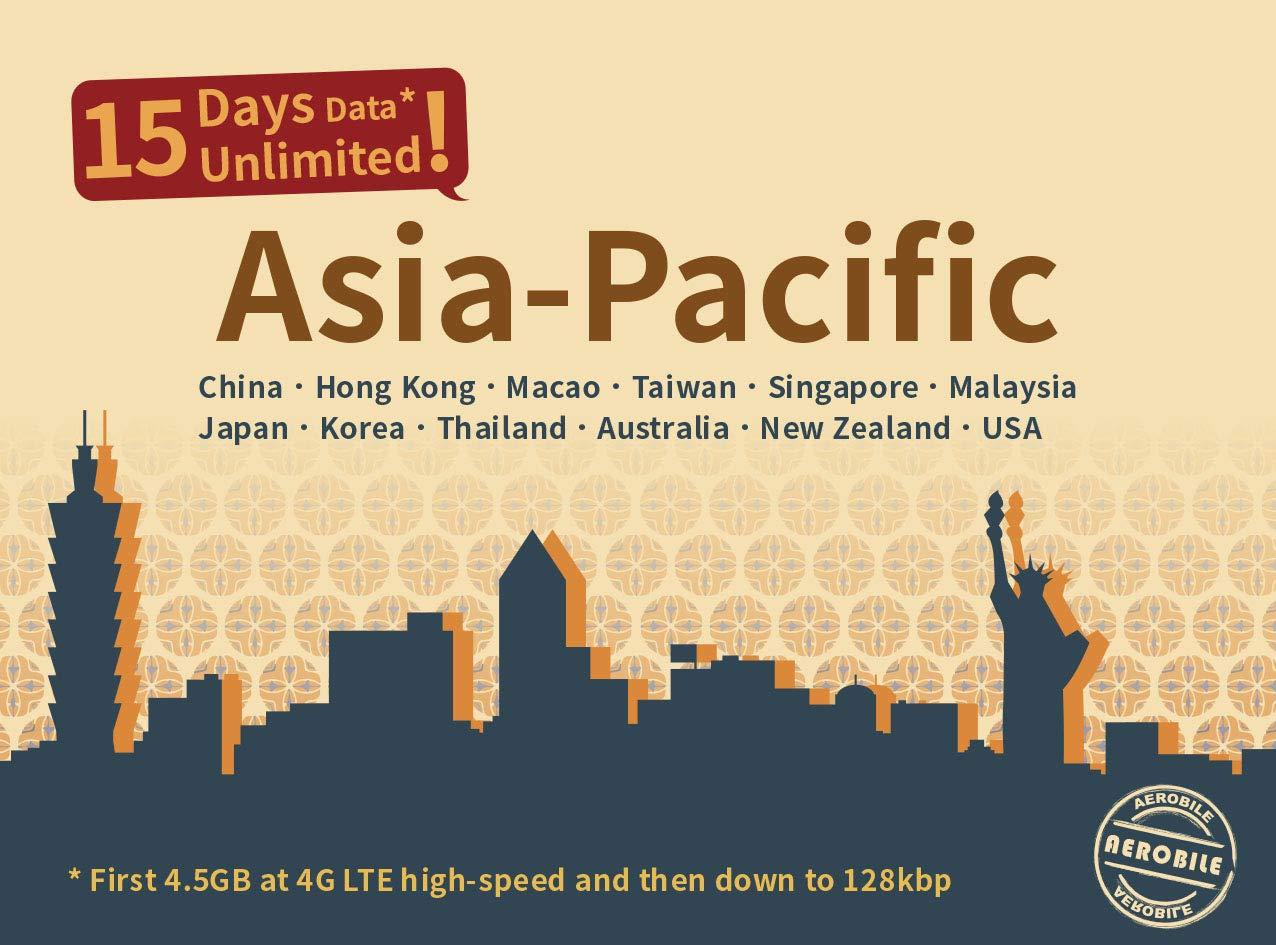 Asia Pacific 15 Days Unlimited Prepaid Data SIM Card, Japan, China, Hongkong, US, Australia, New Zealand, Macao, Taiwan, Singapore, Malaysia, Korea, Thailand by Aerobile