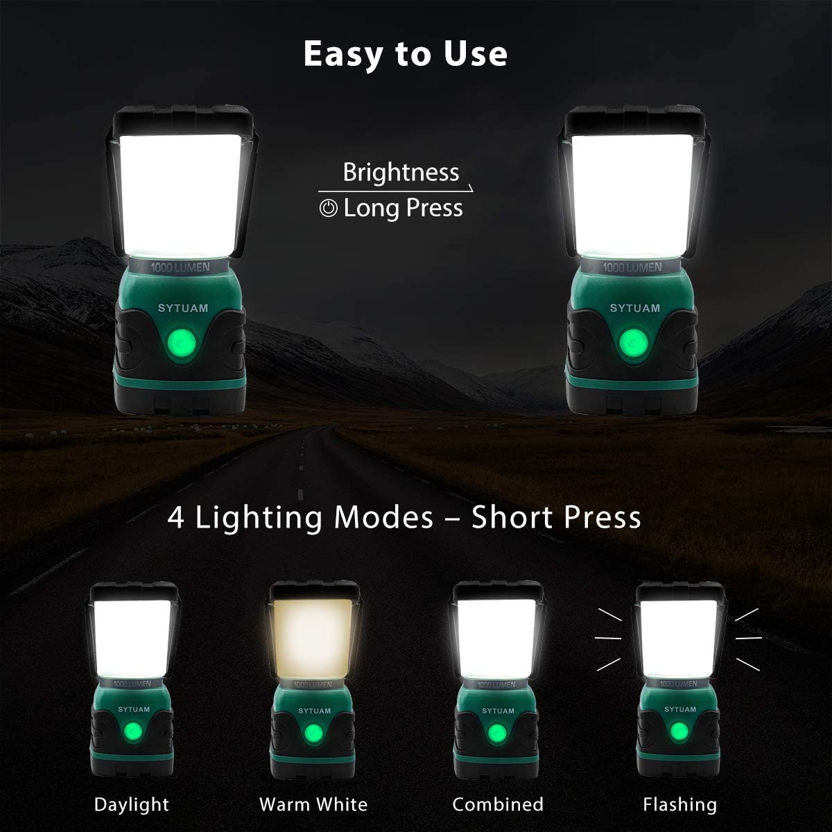 Water Resistant Tent Light for Camping 4 Modes Emergency Light SWYJO Rechargeable Camping Lantern 1000 Lumen LED Outdoor Lights Fishing Hiking Power Cuts and More