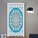 Gzhihine custom made 3d door stickers Mandala Blue Art Prints Blue Decor One of a Kind Machine Washable Shiny Silky Saten For Room Decor 30x79