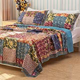 Shabby Chic Floral 3 Pieces Country Patchwork Bedspread Quilts Set Queen King