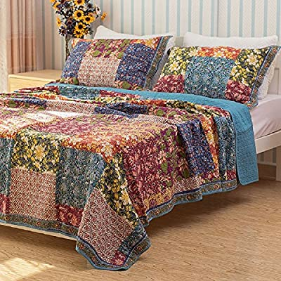 Shabby Chic Floral 3 Pieces Country Patchwork Bedspread Quilts Set Queen/King