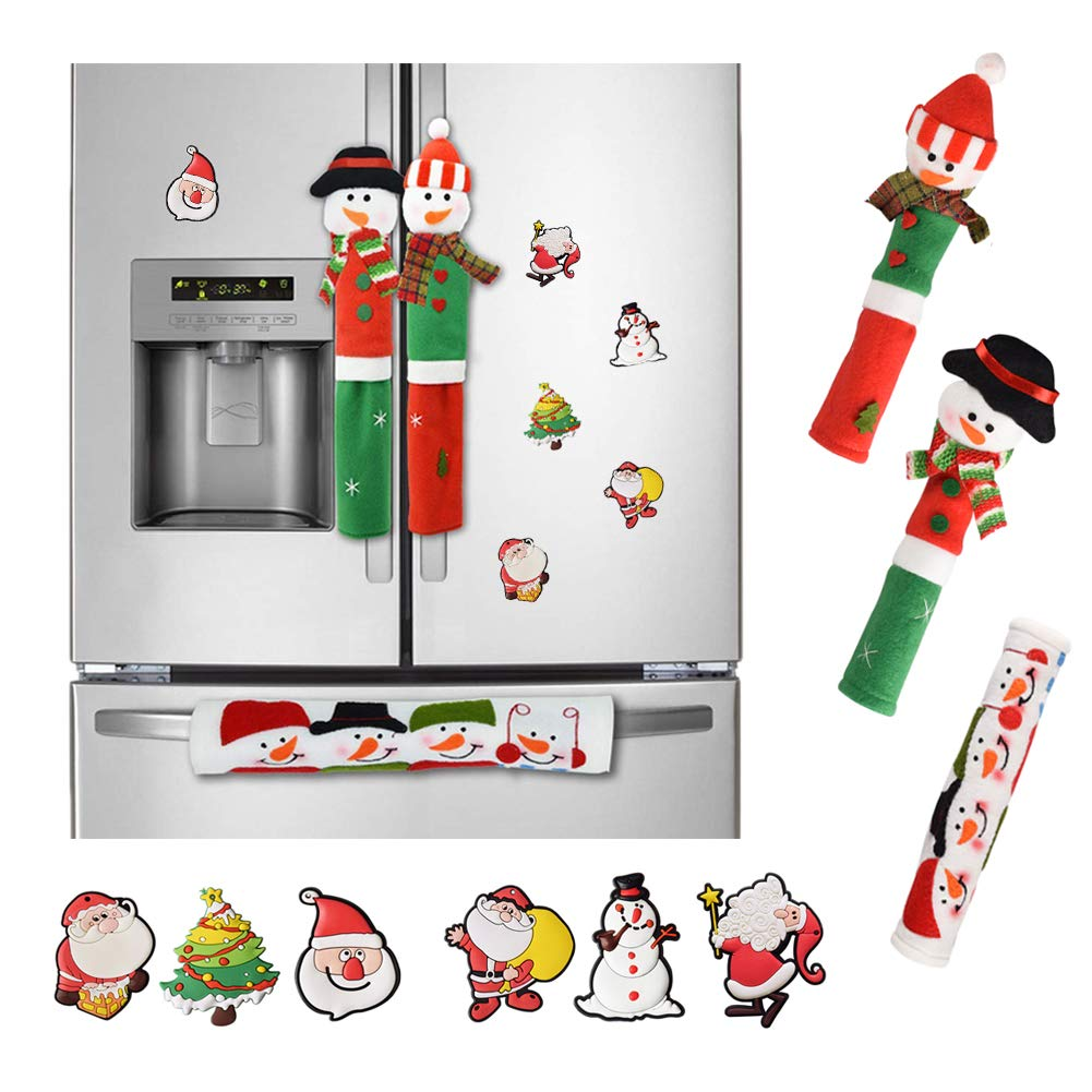 Garma Christmas Decoration Set - Santa Claus/Snowman Handle Cover with 6 Fridge Magnets for Christmas Kitchen Decoration