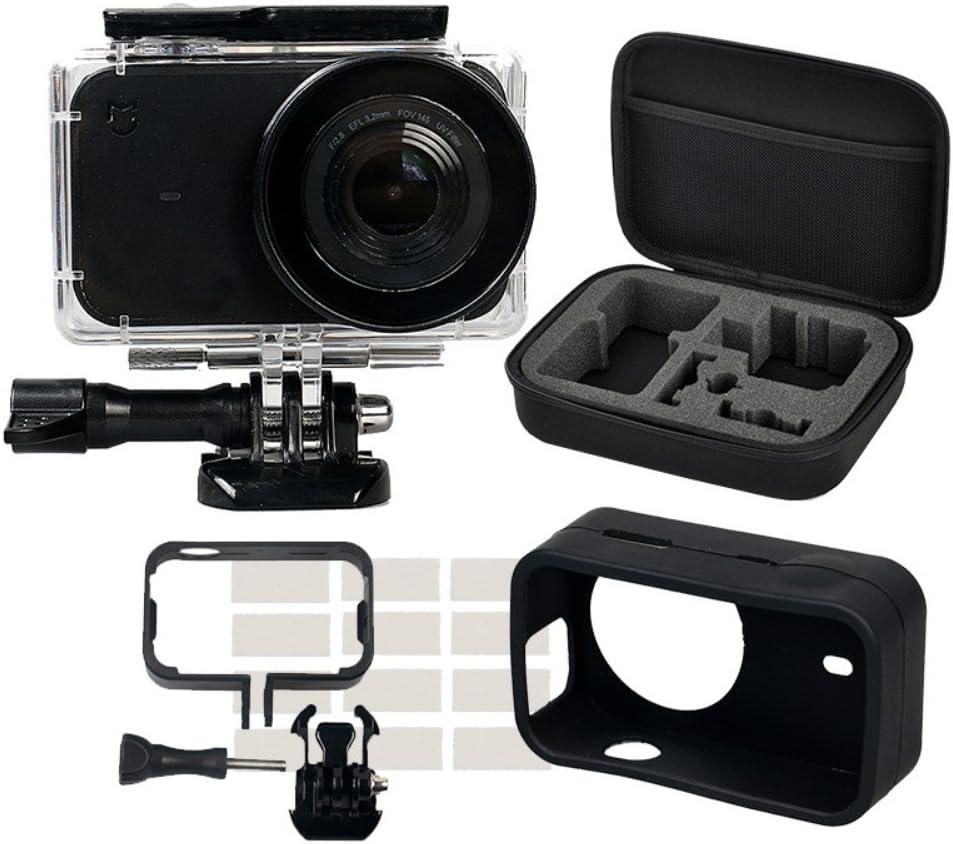 Kingwon 5 en 1 Bolsa con Accesorios Kit para Xiaomi mijia Mini 4 K Cámara de acción: Carcasa Impermeable+Marco Frontera Montaje Funda + Suave de Silicona Caso + Tapa de Objetivo