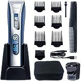 HATTEKER Professional Hair Clipper Hair Trimmer Cordless Clippers Beard Trimmer for Men Haircut Kit USB Rechargeable Best Gift