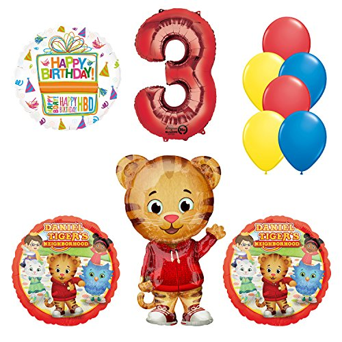 Mayflower Products Daniel Tiger Neighborhood 3rd Birthday Party Supplies and Balloon Decorations for $<!--$19.99-->