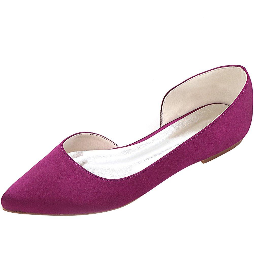 LOSLANDIFEN Women's Elegant Sequins Flats Pionted Toe Wedding Ballet Bridal Shoes B0716Y4L71 41 M EU/9.5 B(M)US|Purple Satin