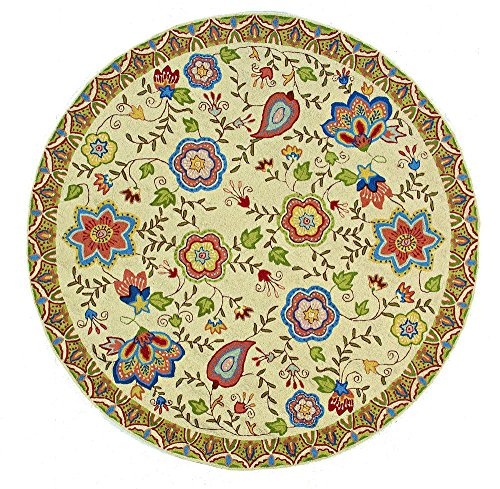 Momeni Rugs SPENCSP-22BGE700R Spencer Collection, 100% Wool Hand Hooked Traditional Area Rug, 7' Round, Beige