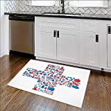 Anti-Slip Thick Rug medicine medicals icons te x ture in cross shape composition background Comfort at Home, Office W24'' x H18''
