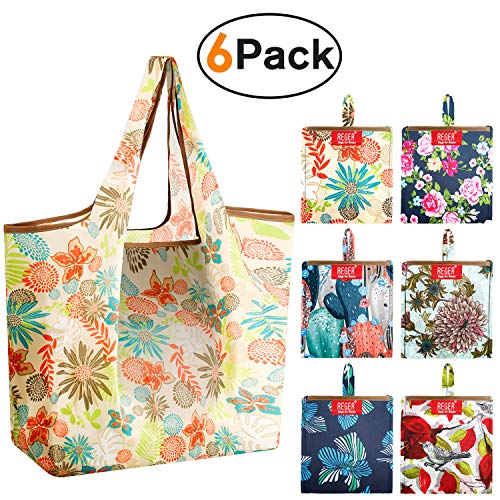 Grocery Bags Reusable Shopping Bags Foldable With Pouch Large 50 LBS 6 Pack Cute Groceries Totes Bags Ripstop Fabric…