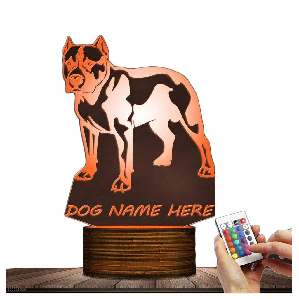 Novelty Lamp, Pitbull Terrier Night Light 15 Kinds of Discoloration Optical Illusion 3D LED Lamp, USB Powered Remote Control Changes the Color of the Light, an Ideal Gift for Children's Friends and Fa
