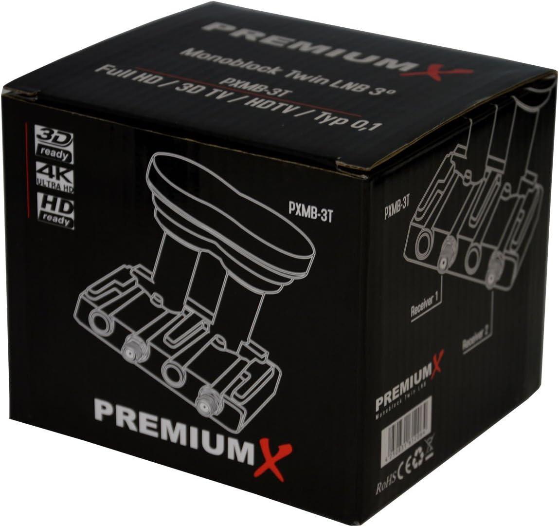 PremiumX Monoblock Single PXMB-3SW LNB WE 0,1dB Astra 19,2/° Eutelsat 16/° HDTV FullHD 3D und Ultra HD 4K tauglich f/ür 80-85cm Sch/üssel