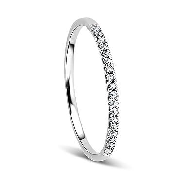 Orovi Woman Eternity Ring 9 Ct 375 White Gold With Diamonds Brilliant Cut 008 Amazoncouk Jewellery