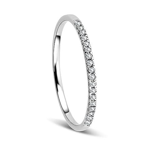 0027c22d2d2f Orovi Anillo Señora compromiso aniversario en Oro Blanco con Diamantes  Talla Brillante 0.08 ct Oro 9 Kt   375  Amazon.es  Joyería