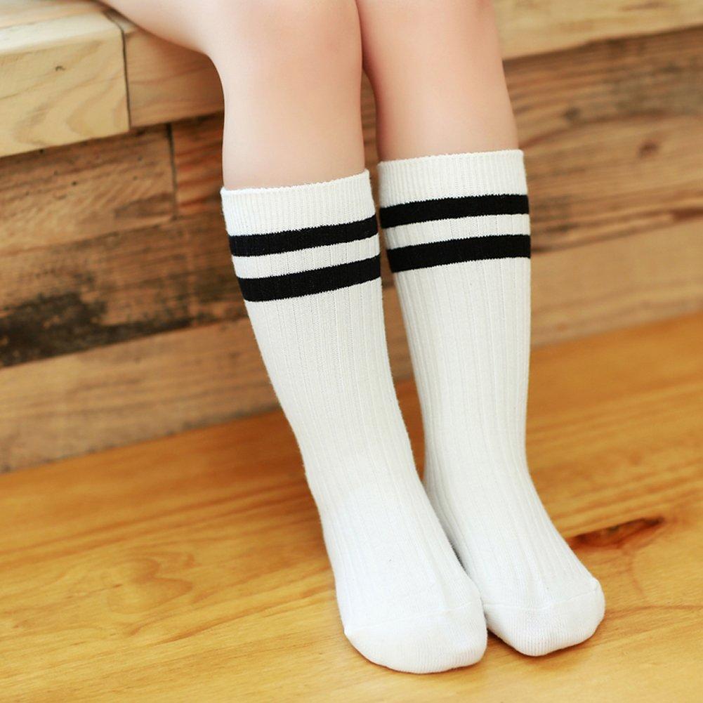 3-11 Years Little Boys//Girls Cotton Striped Mid-Calf Socks 4 Pack