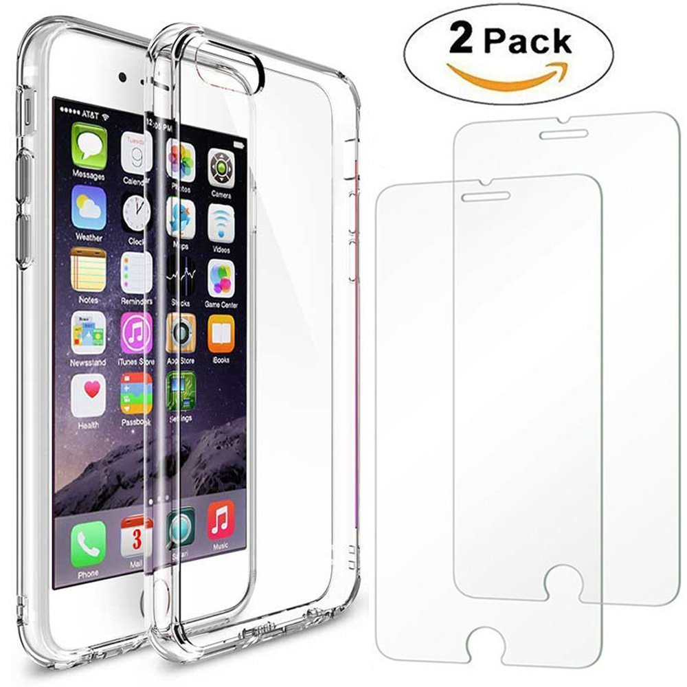 iPhone 6/6S Plus Case + 2Pack iPhone 6/6S Plus Glass screen protector , AEDILYS Crystal Clear PC Back TPU Bumper [Drop Protection/Shock Absorption Technology] Raised Bezels Protective Cover For iPhone 6/6S Plus 5.5' AEDILYS.