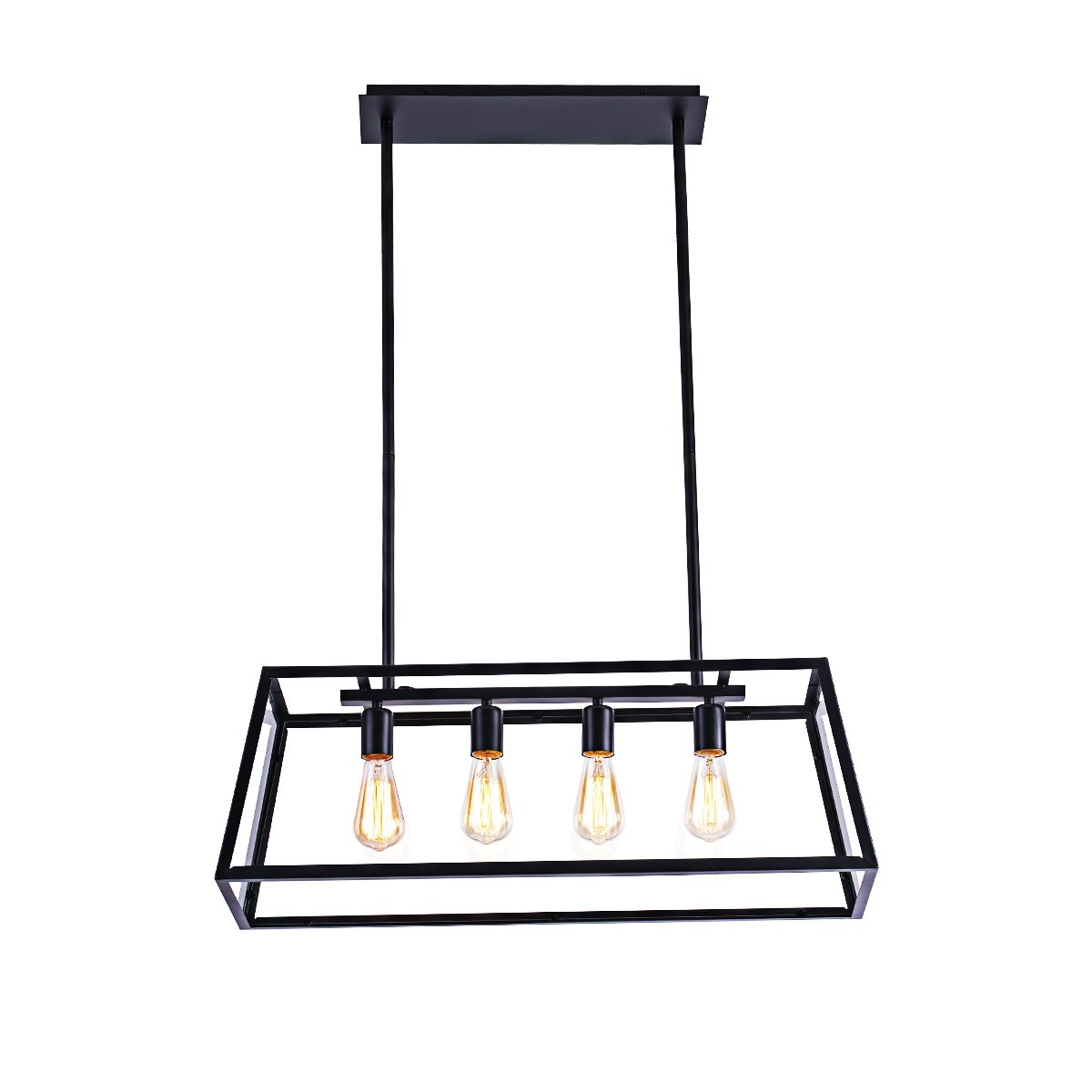 Morley Glass Linear Chandelier, 4-Light Industrial Island Pendant Lighting with Matte Black Frame for Dining Room, Kitchen by Lanros