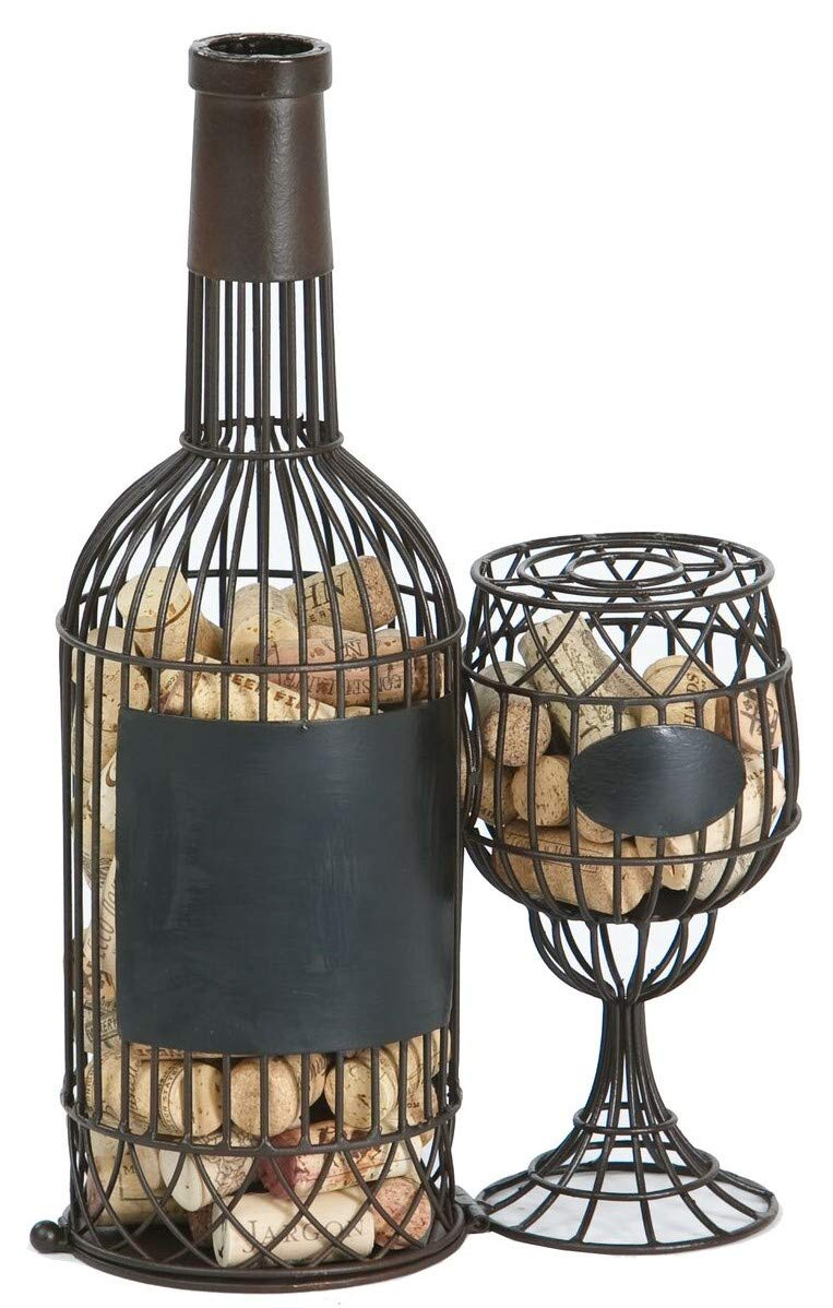 Picnic Plus Wine Bottle & Glass Cork Holder Caddy Displays And Stores Over 60 Wine Corks