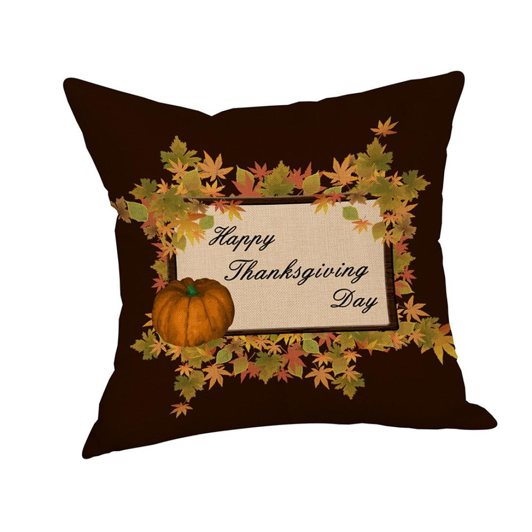 Christmas Pillow Cases,SUPPION Thanksgiving Pillow Cover Thankful Sentiment Pillowcases Embroidered (B)