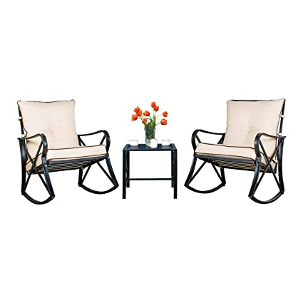 Amazon Com Friday Discount Outdoor Rocking Chairs Bistro Set Glass