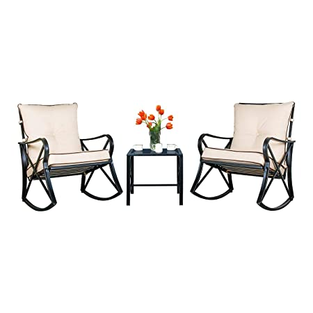 Friday discount Outdoor Rocking Chairs Bistro Set Glass Top Table Thick Cushions 3-Piece Black Steel Furniture