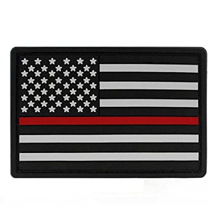 Amazon.com  Thin Red Line American Flag PVC Patch with Hook   Loop ... 32f1a7c59ec