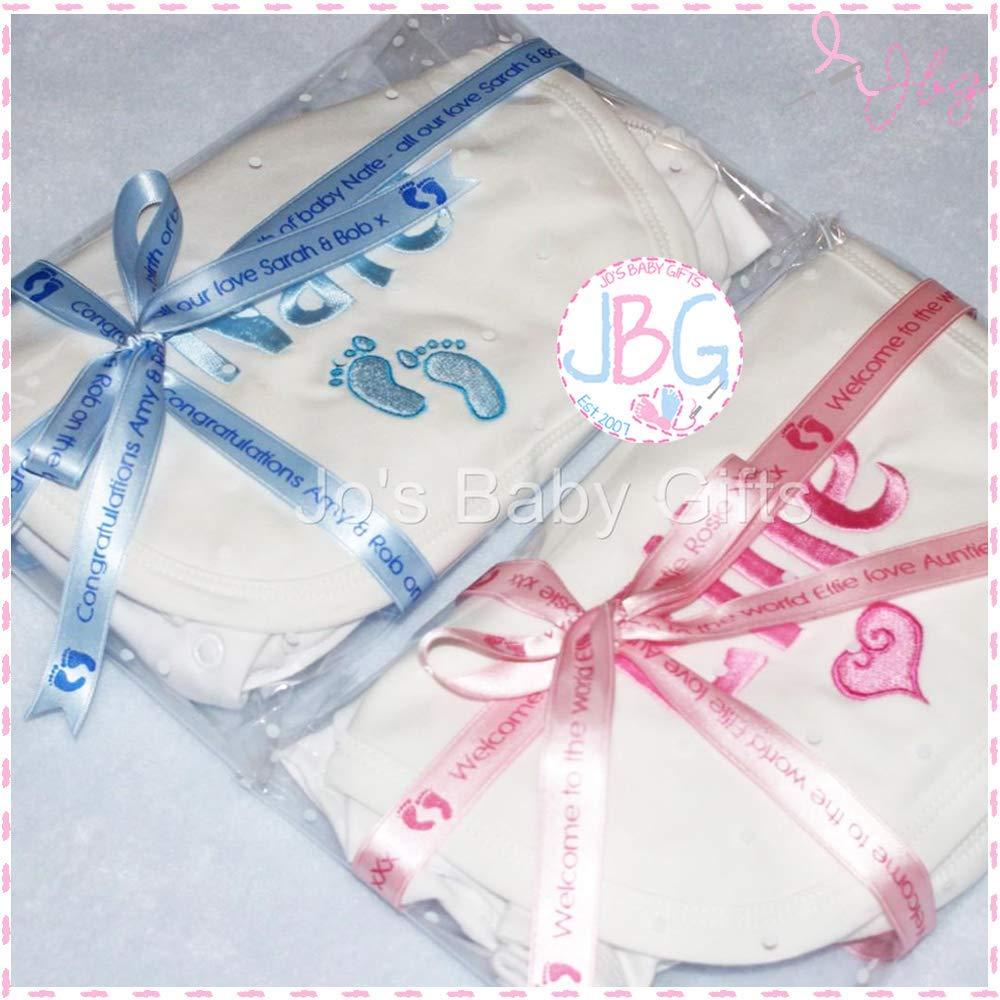 Personalisd 3 peice gift set Baby Vest Bib /& Sleepsuit Embroidered design Plus gift wrap /& personalised ribbon