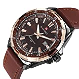 Men's Quartz Watch with Leather Band Unique Business Dress Analog Watches Large Casual Luminous Hands Waterproof Wrist Watch - Brown