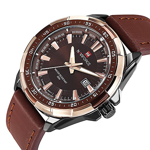 Mens Unique Leather (Men's Quartz Watch with Leather Band Unique Business Dress Analog Watches Large Casual Luminous Hands Waterproof Wrist Watch - Brown)
