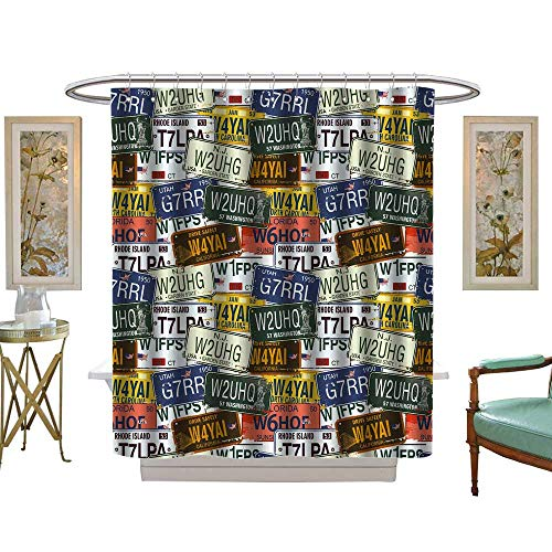 luvoluxhome Shower Curtains Sets Bathroom Vintage Original Retro License Plates Personalized GiftsCreative Travel Collections Multi Color W69 x L70 Fabric Bathroom Decor Set with Hooks