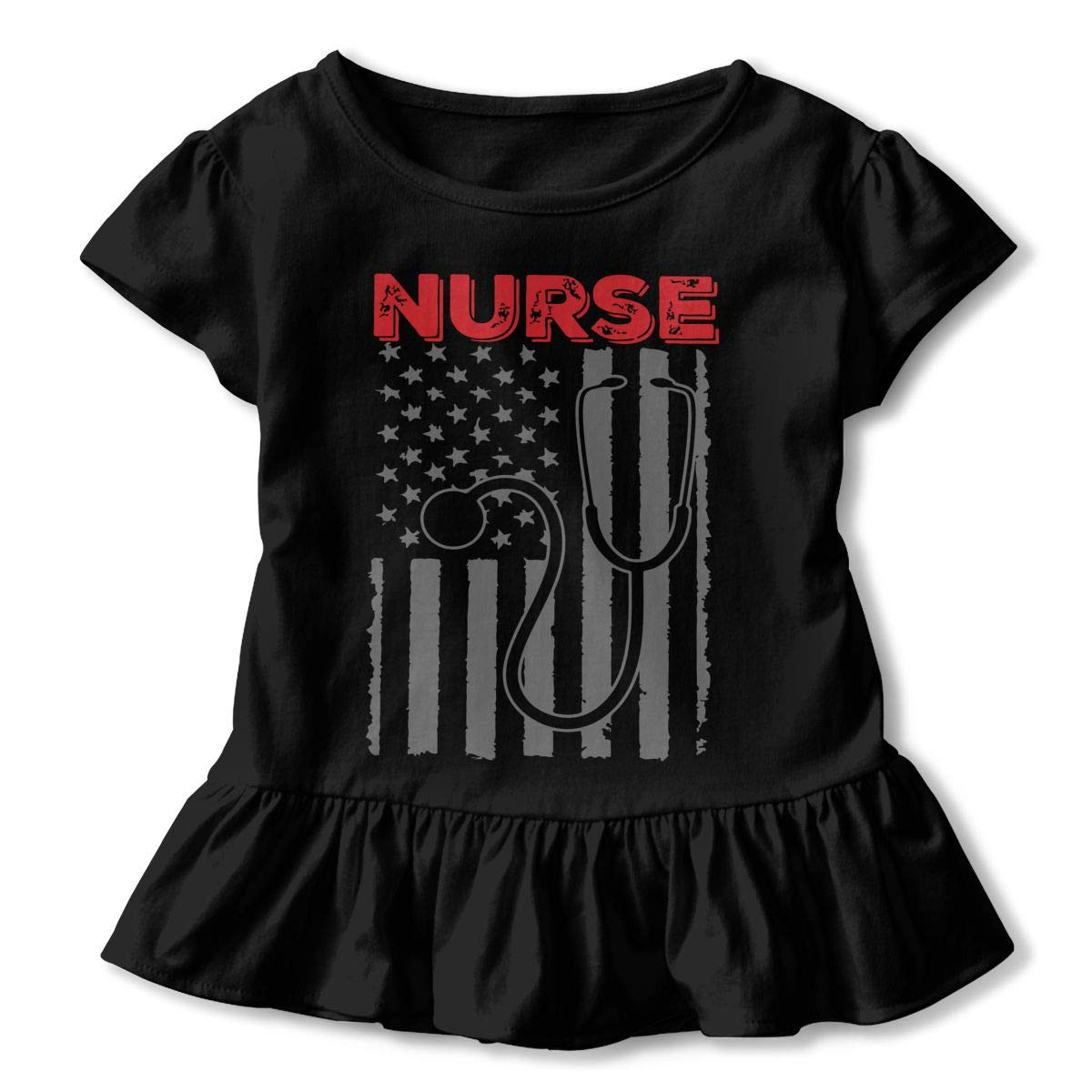America Flag with Nurse Kids Girls Short Sleeve T-Shirt Ruffles Shirt Tee Jersey for 2-6T