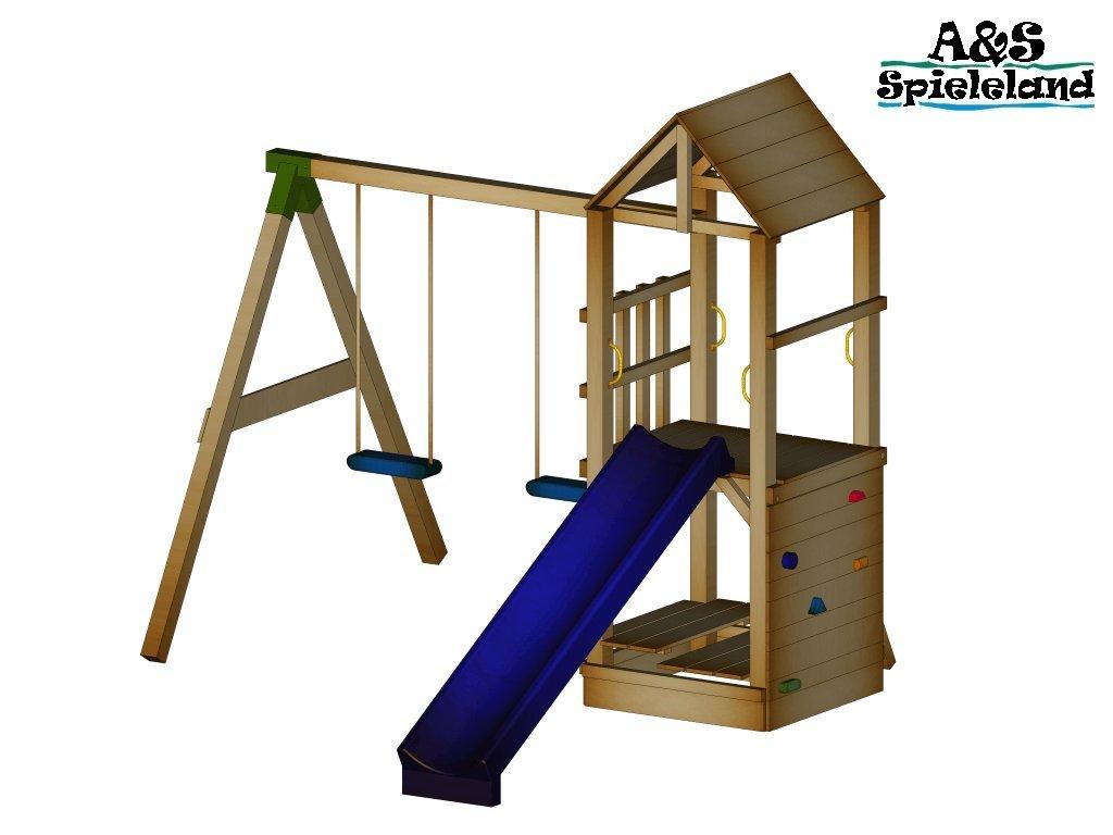 Spielturm CHRIS 2.0 Set 2 Rutsche 240 cm Kletterturm Schaukel 9x9 Postenstärke