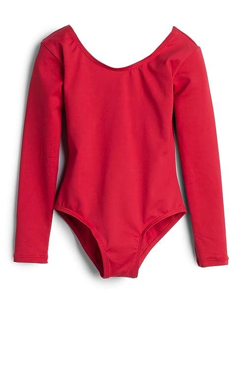 36464c4a3 Elowel Girls  Team Basics Long Sleeve Leotard Red (size 4-6)  Amazon ...