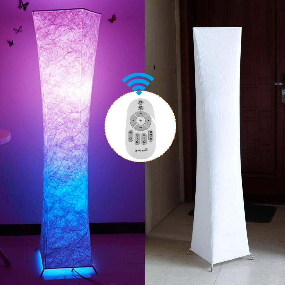 ambiance chaleureuse chambre Fy-Light 52moderne Lampadaire en tissu lin /éclairage doux Design moderne Minimaliste Lampe moderne avec abat-jour en tissu et 2 ampoules pour salon Lampadaire