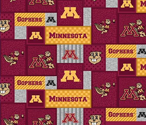 University of Minnesota Fleece Blanket Fabric-Minnesota Gophers Fleece Fabric with New Patch Pattern-Sold by The Yard-SYKEL - Ncaa Minnesota Gophers Pattern