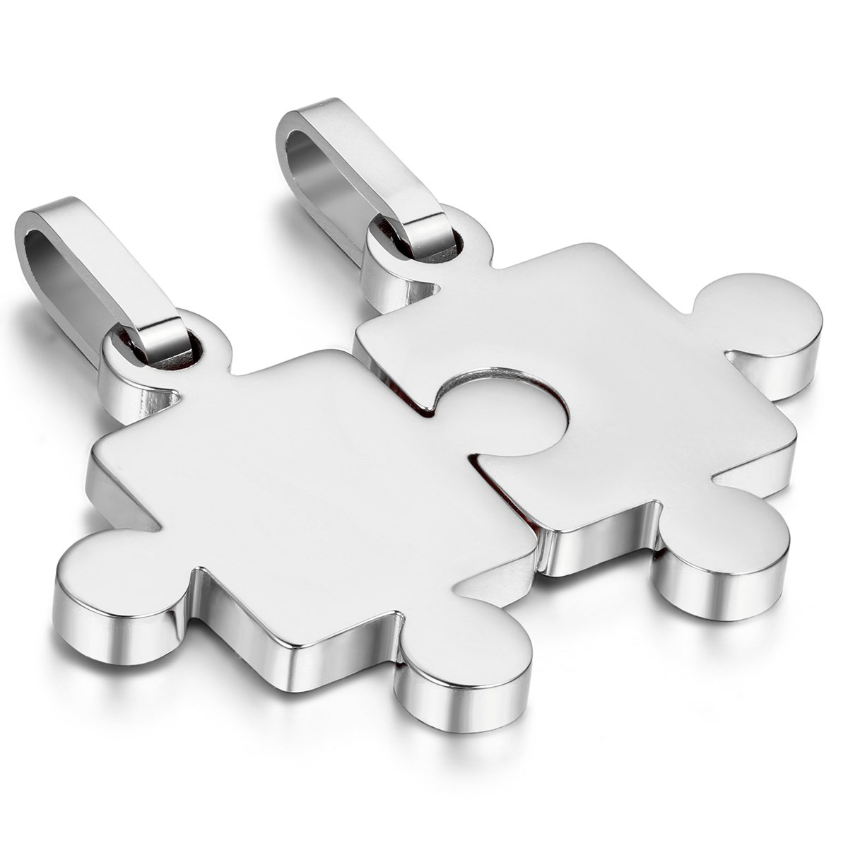 8f9f2e94b Cupimatch 2-Piece His & Hers Silver Stainless Steel Puzzle Matching Pendant  Couple Necklace for Men Women with 18