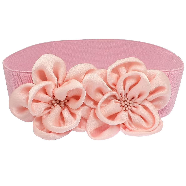 Women Pink Chiffon Double Flower Ornament Beaded Elastic Cinch Waist Belt Band