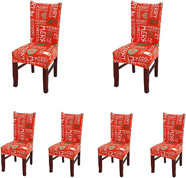 My Decor Super Fit Stretch Removable Washable Short Dining Chair Protect Cover Slipcover Style 04, 6 Pack