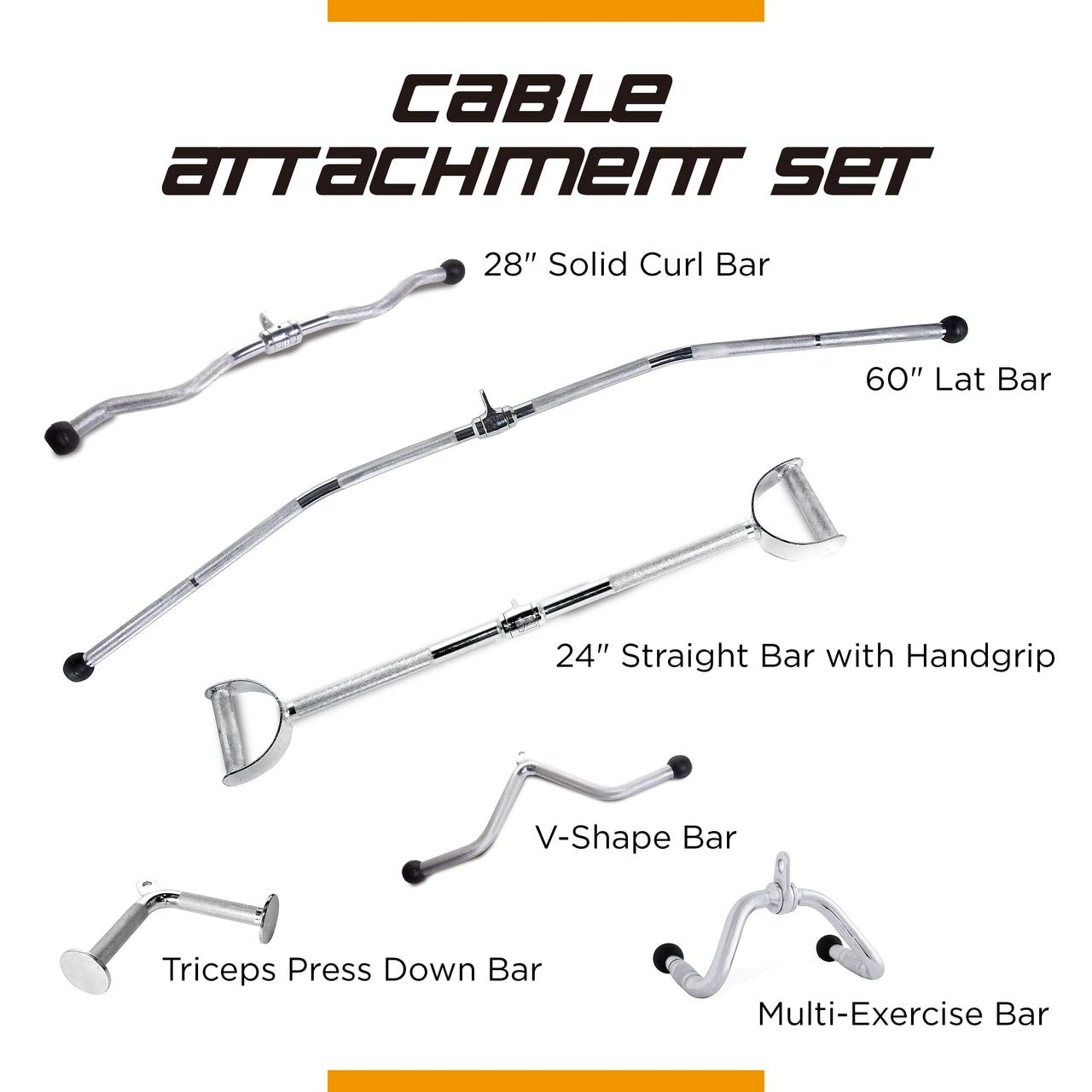 CAP Barbell 60'' LAT Bar & 24'' Pro-Style LAT Bar with Revolving Hanger & 28'' Curl Bar & V-Shaped Triceps Press Down Bar & Multi-Exerciser Attachment & Triceps Press Down Attachment Set
