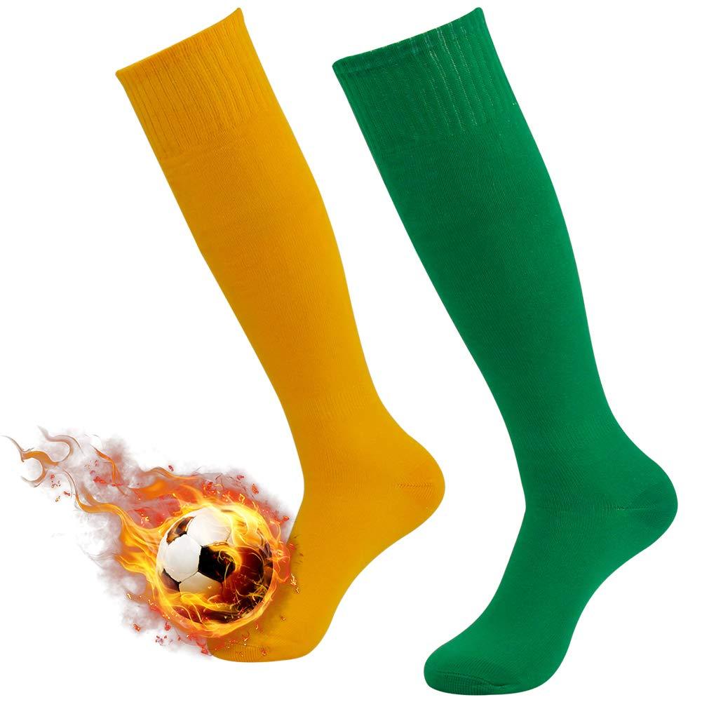 3street 着圧靴下 ハイソックス 無地 チューブタイプ スポーツ サッカー 男女兼用 2/6/10足組 B01LZBGIO1 2-pair Green Orange  2-pair Green Orange