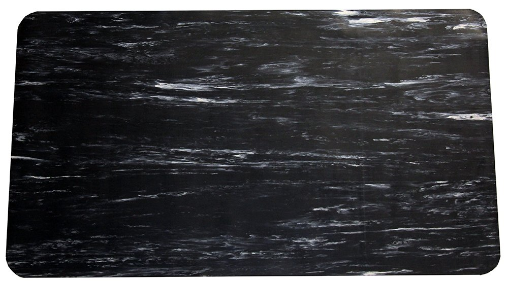 Durable Grand-Stand Vinyl Anti-Fatigue Floor Mat, 2' x 3', Marble Black