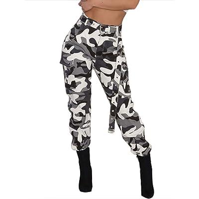 Caige Pantalones Casuales de Mujer Overoles, Pantalones de Camuflaje de Mediana Altura (sin cinturón),XXL: Hogar