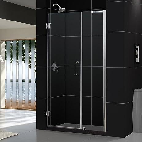 Frameless Hinged Shower Door And Panel.Dreamline Unidoor 46 47 In Width Frameless Hinged Shower Door 3 8 Glass Brushed Nickel Finish